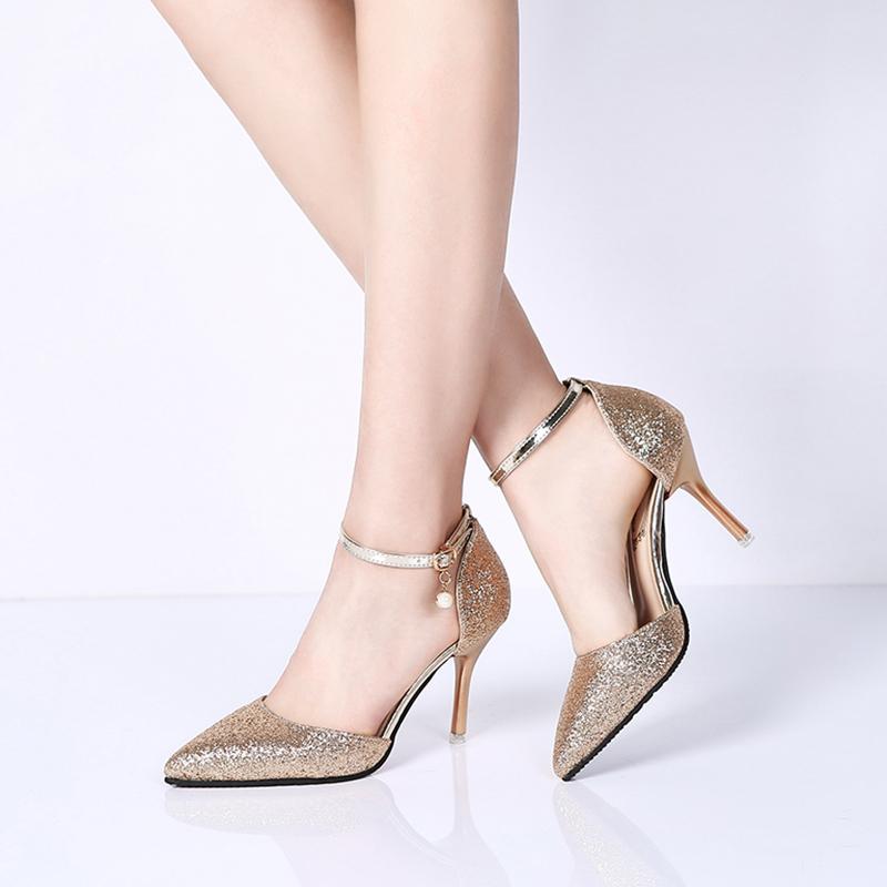 非主流高跟鞋 2017春夏新款高跟细跟亮片尖头镂空浅口一字扣时尚性感女士凉鞋潮_推荐淘宝好看的女时尚 高跟鞋