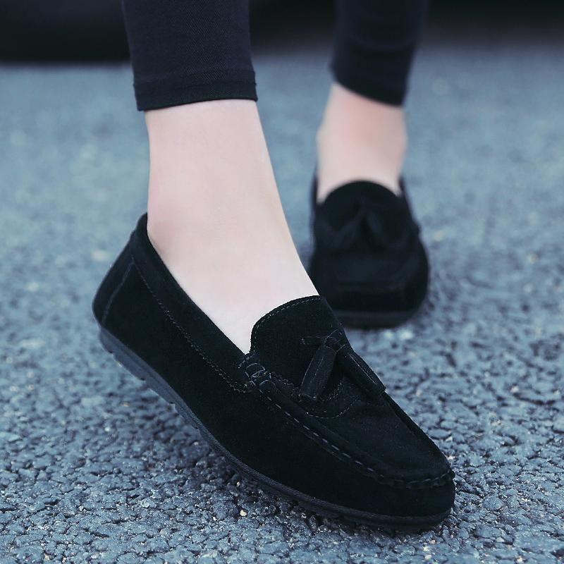 黑色豆豆鞋 春季舒适软底孕妇四季平底女豆豆鞋纯黑色职业40单鞋41大码女鞋43_推荐淘宝好看的黑色豆豆鞋