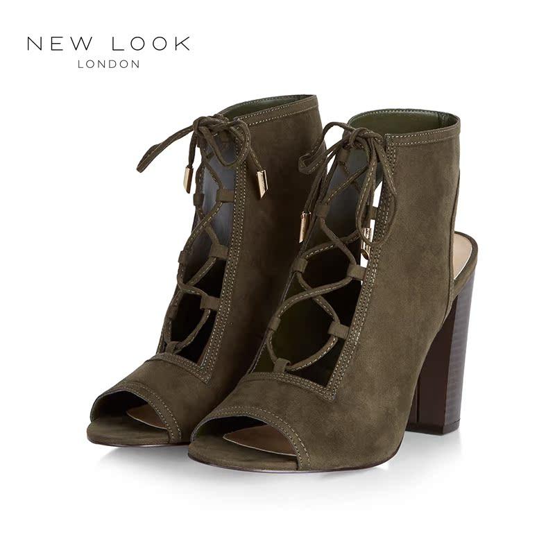绿色凉鞋 NEW LOOK2016新款翠绿色绒面系带凉鞋粗跟高跟鞋|367610434_推荐淘宝好看的绿色凉鞋