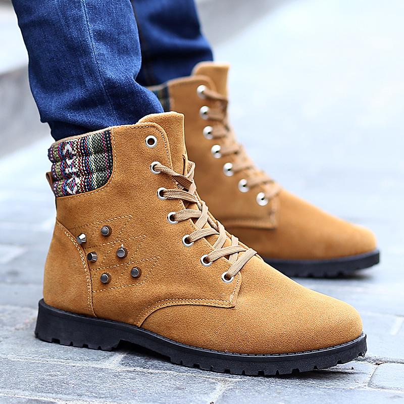 黄色高帮鞋 新款高帮马丁靴休闲时尚磨砂皮男鞋黄色黑色蓝色_推荐淘宝好看的黄色高帮鞋