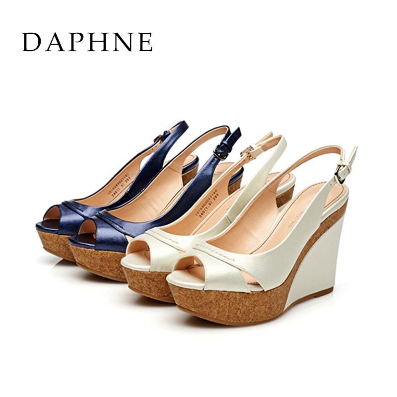 鱼嘴坡跟鞋 Daphne达芙妮 超高跟坡跟鱼嘴简约一字扣凉鞋1515303027_推荐淘宝好看的鱼嘴坡跟鞋