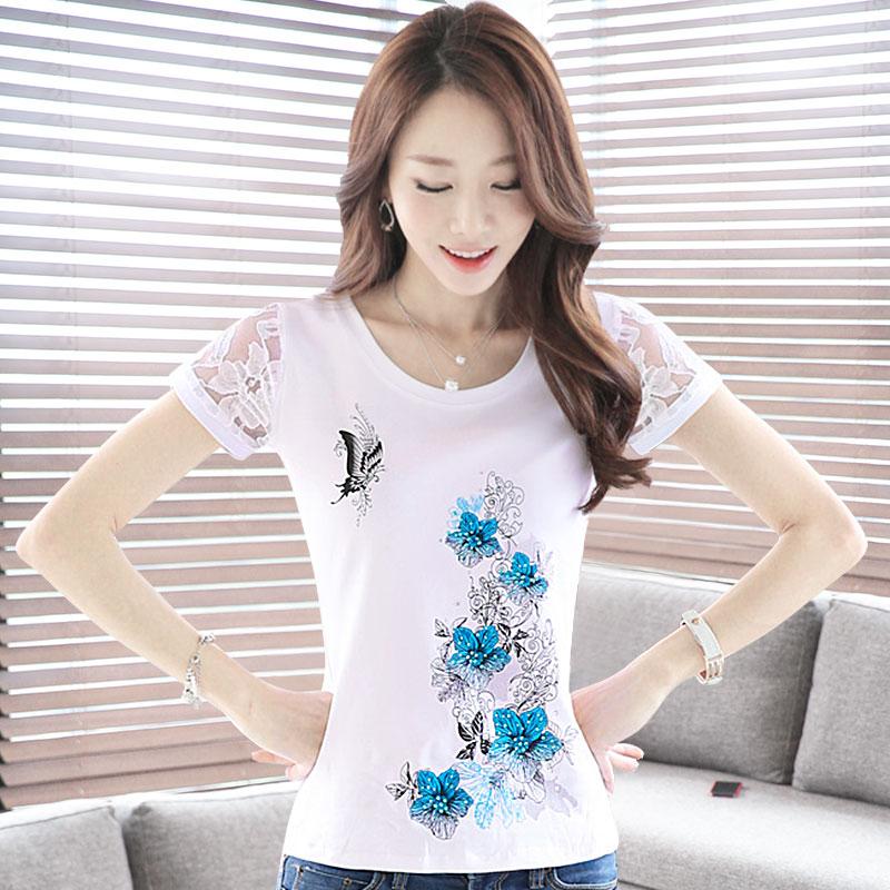 女士短袖t恤 短袖女t恤女短袖夏季韩版修身大码蕾丝打底衫女半袖纯白色棉T学生_推荐淘宝好看的女女短袖t恤