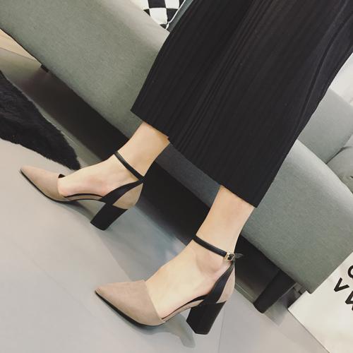 时尚高跟鞋 包邮女鞋 时尚单鞋复古风7cm高跟鞋 一字扣带脚腕粗跟中空韩版鞋_推荐淘宝好看的女时尚高跟鞋