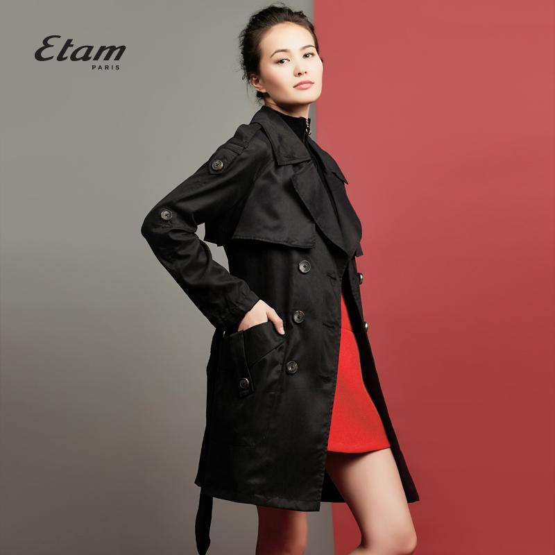 艾格服饰 艾格 ETAM 秋季时尚百搭双排扣中长款大衣女160134039_推荐淘宝好看的艾格女
