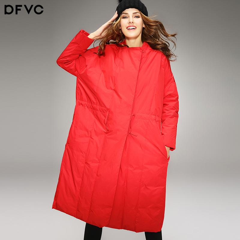 红色羽绒服 dfvc2016冬装新款女装欧美宽松廓形A字中长款白鸭绒红色羽绒服_推荐淘宝好看的红色羽绒服