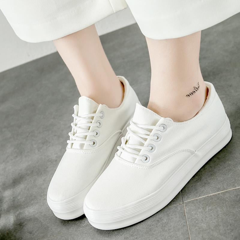 白色厚底鞋 梦赛春季文艺小白鞋女生系带韩版帆布鞋厚底百搭白色板鞋学生布鞋_推荐淘宝好看的白色厚底鞋