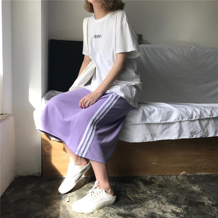 紫色半身裙 复古港味chic风运动条杠紫色夏季中长款半身裙_推荐淘宝好看的紫色半身裙