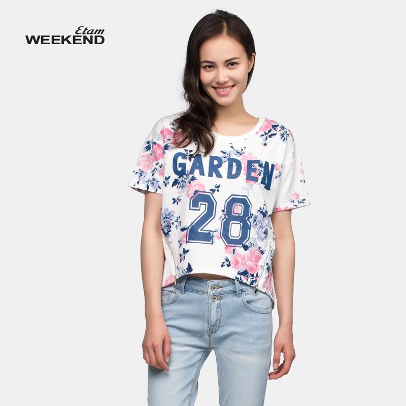 艾格周末女装 艾格周末Weekend2016夏花卉拉链下摆T恤15022815886_推荐淘宝好看的艾格周末