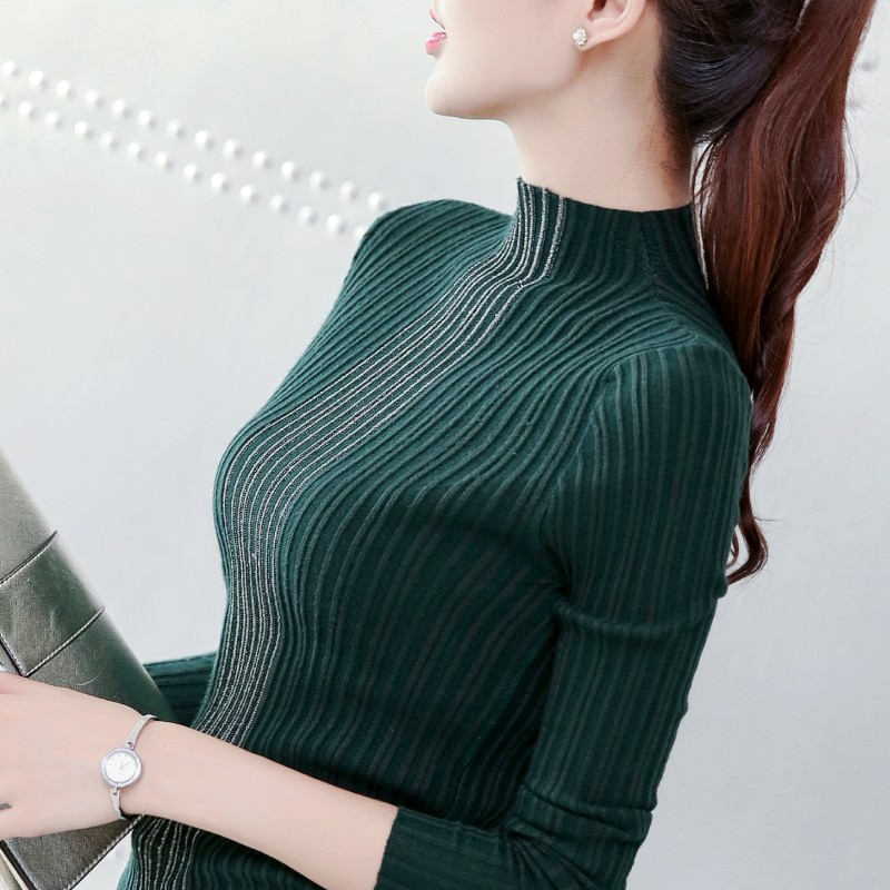 绿色针织衫 新款秋冬女装半高领修身针织衫套头长袖打底衫亮丝中领短款毛衣女_推荐淘宝好看的绿色针织衫
