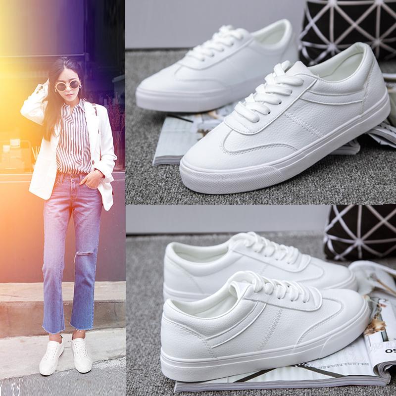 白色帆布鞋 2016皮面小白鞋女系带白色帆布鞋韩版休闲鞋百搭运动平底学生板鞋_推荐淘宝好看的白色帆布鞋