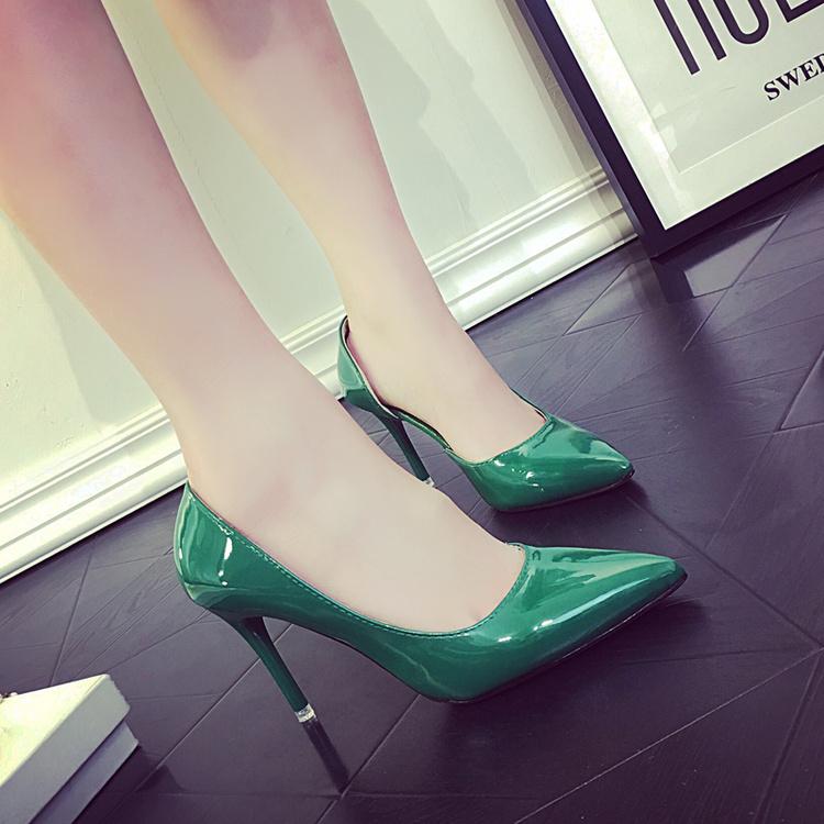 绿色高跟鞋 夏季新款尖头高跟鞋女细跟中跟性感裸色女单鞋绿色婚鞋黑色工作鞋_推荐淘宝好看的绿色高跟鞋