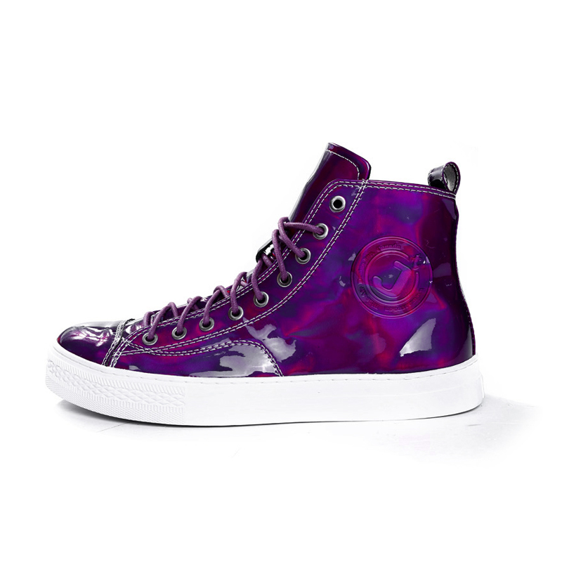 紫色高帮鞋 JT吉田耀司新款时尚潮流镭射紫色高帮系带情侣休闲鞋JT14432022_推荐淘宝好看的紫色高帮鞋