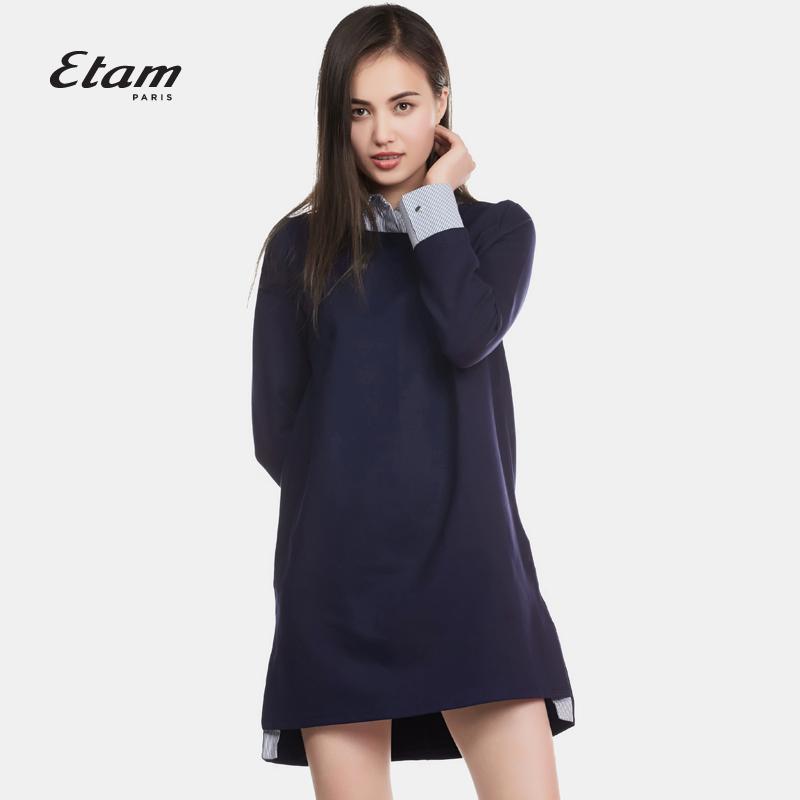 艾格连衣裙 艾格 Etam 冬季时尚百搭优雅长袖拼接连衣裙16012250540_推荐淘宝好看的艾格连衣裙