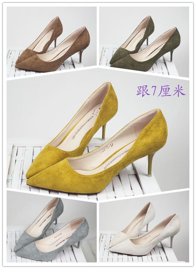 黄色高跟鞋 2016新款韩版小清新尖头细跟浅口单鞋绒面时尚低帮女鞋黄米色高跟_推荐淘宝好看的黄色高跟鞋