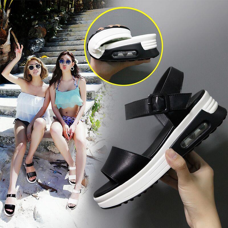 白色凉鞋 CQ2016新款真皮凉鞋女夏韩版一字扣带平底白色学生简约松糕女鞋_推荐淘宝好看的白色凉鞋
