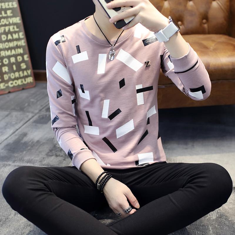 紫色T恤 男士t恤 长袖纯棉圆领春秋款潮秋衣男装秋装上衣外穿秋季衣服卫衣_推荐淘宝好看的紫色T恤