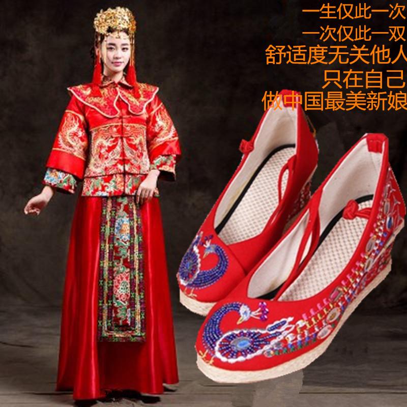 红色坡跟鞋 手工串珠老北京女布鞋坡跟系带绣花鞋中式红色婚鞋新娘鞋秀禾服鞋_推荐淘宝好看的红色坡跟鞋