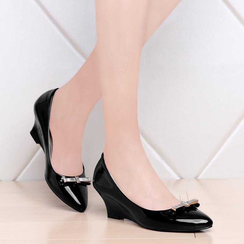 单鞋 skywheel2017春季新款尖头浅口女鞋高跟坡跟简约舒适单鞋_推荐淘宝好看的女单鞋