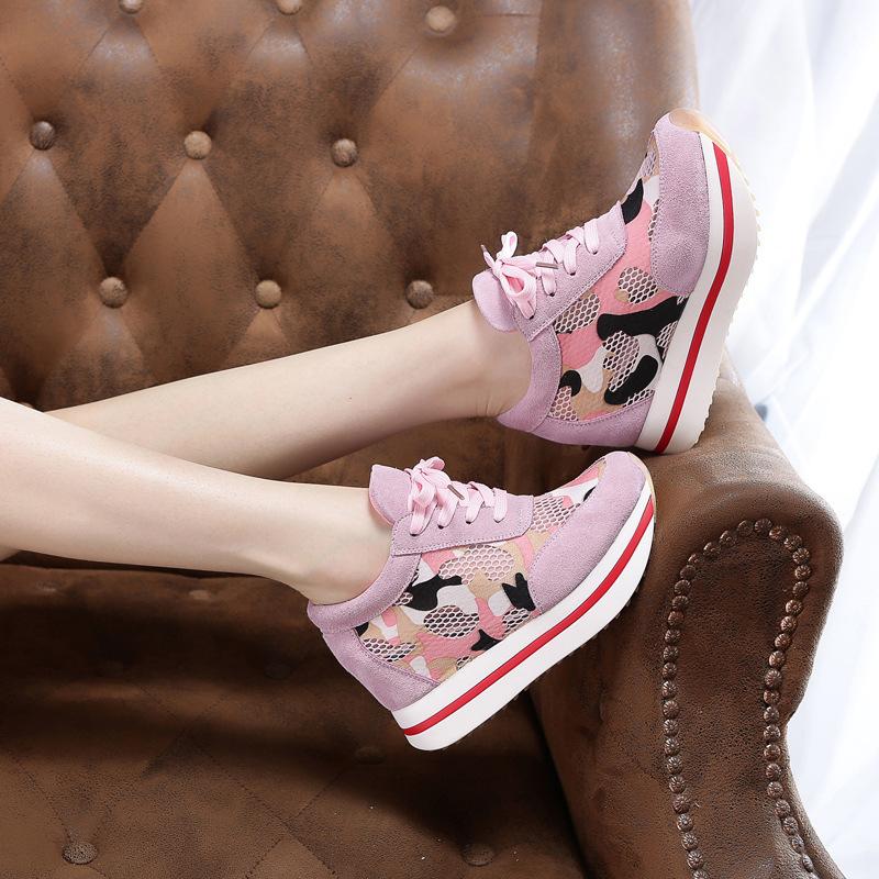 粉红色运动鞋 粉红色真皮网面内增高女鞋潮韩版学生休闲运动迷彩透气网鞋34码40_推荐淘宝好看的粉红色运动鞋