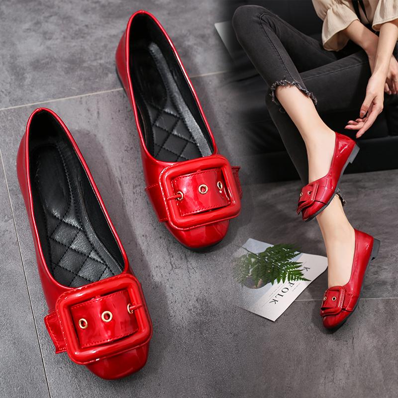 红色平底鞋 红色浅口平底单鞋孕妇鞋低跟低帮皮带扣工作鞋2017年夏季新款女鞋_推荐淘宝好看的红色平底鞋