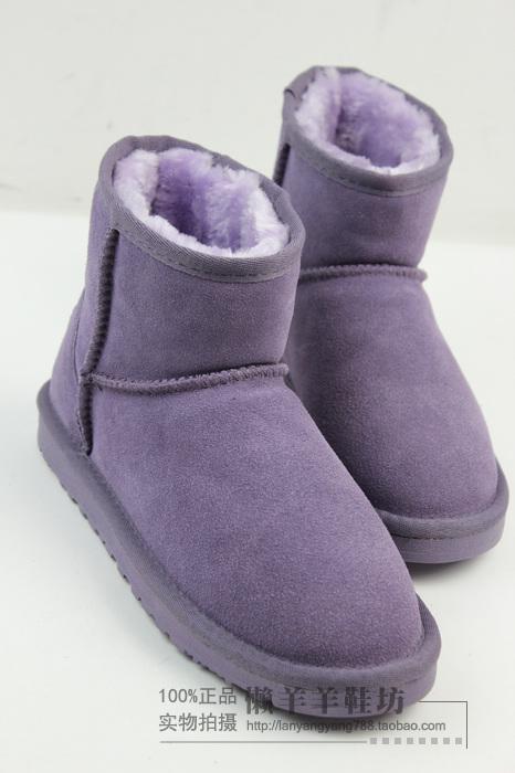 紫色平底鞋 5折包邮CE雪地靴冬牛皮真皮短靴女鞋棉鞋平底短筒梦幻紫色雪地靴_推荐淘宝好看的紫色平底鞋