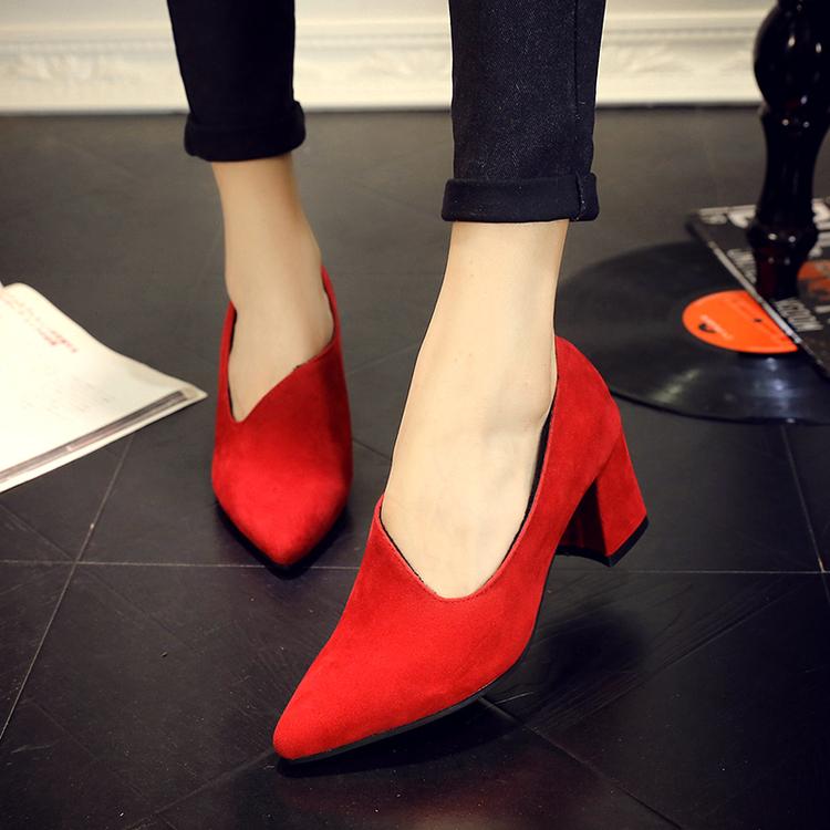 粗跟尖头鞋 单鞋女冬高跟深口加绒粗跟中跟尖头红色新娘鞋结婚礼鞋孕妇伴娘鞋_推荐淘宝好看的粗跟尖头鞋