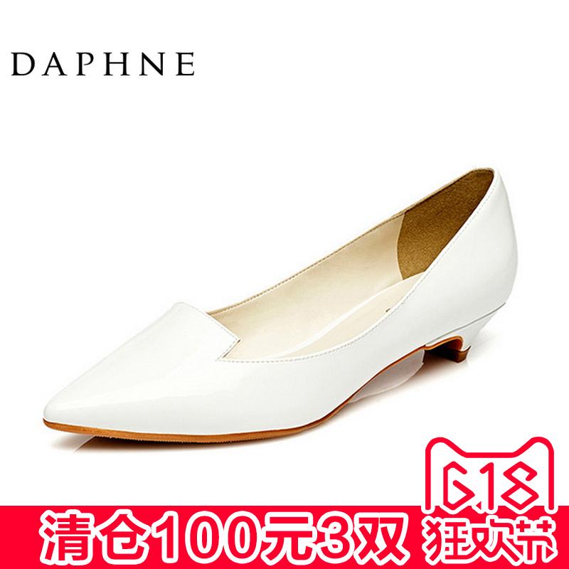 达芙妮尖头鞋 Daphne达芙妮女鞋 浅口舒适低跟尖头漆皮亮面简约单鞋_推荐淘宝好看的达芙妮尖头鞋