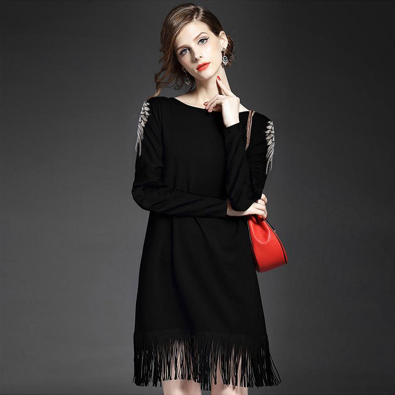 长袖连衣裙 秋款欧美风女长袖连衣裙时尚大码女装黑色宽松亮片流苏打底直筒裙_推荐淘宝好看的长袖连衣裙