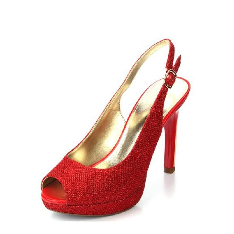 红色鱼嘴鞋 Daphne达芙妮时尚大方优雅金属色细跟超高跟鱼嘴红色婚鞋凉鞋_推荐淘宝好看的红色鱼嘴鞋