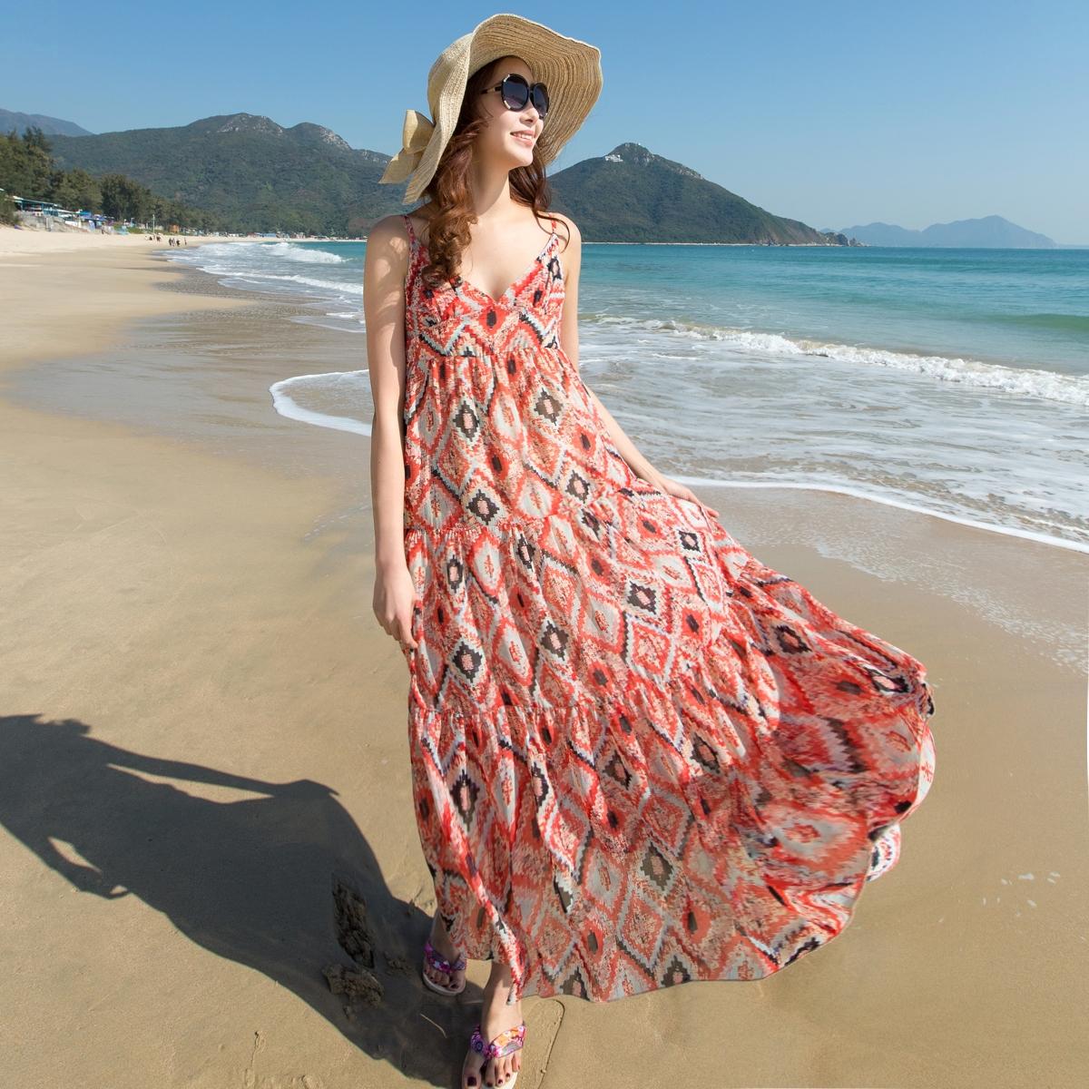 雪纺吊带连衣裙 新款夏季度假长裙波西米亚雪纺连衣裙花色吊带沙滩裙_推荐淘宝好看的雪纺吊带连衣裙