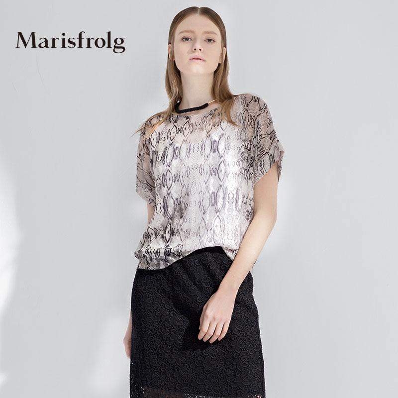 玛丝菲尔女装 Marisfrolg玛丝菲尔 舒适蛇纹印花真丝上衣 专柜正品夏季女装新_推荐淘宝好看的玛丝菲尔
