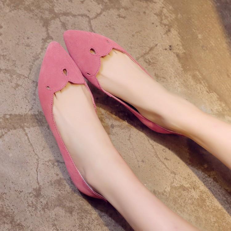 粉红色坡跟鞋 低跟坡跟单鞋浅口镂空套脚真皮磨砂尖头灰色粉红色34码女鞋子韩版_推荐淘宝好看的粉红色坡跟鞋