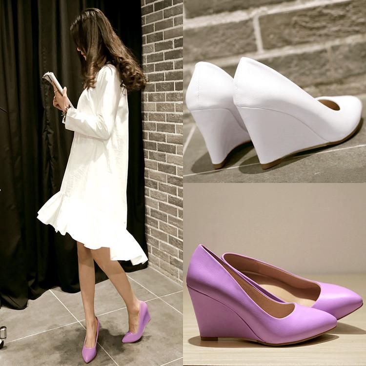 紫色坡跟鞋 2016新款简约坡跟尖头单鞋舒适职业工作鞋紫色淑女高跟鞋白搭女鞋_推荐淘宝好看的紫色坡跟鞋