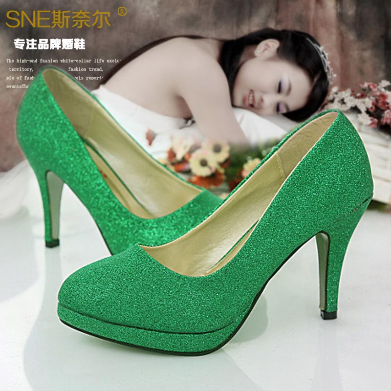 绿色高跟鞋 新娘鞋绿色婚鞋女金色红色结婚高跟鞋子蓝色演出主持婚礼伴娘细跟_推荐淘宝好看的绿色高跟鞋