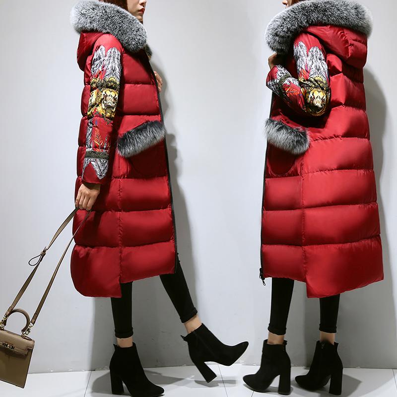 红色羽绒服 连帽狐狸毛领2016新款加厚印花长款两面穿羽绒服女修身外套长过膝_推荐淘宝好看的红色羽绒服