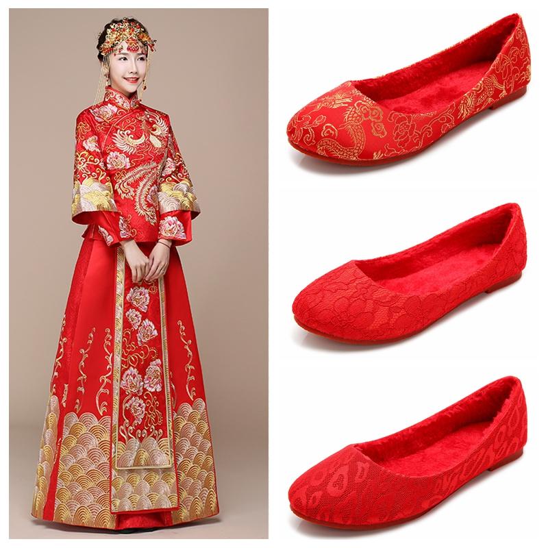 红色平底鞋 婚鞋冬新娘鞋红色平跟蕾丝结婚鞋秀禾敬酒鞋大码平底旗袍孕妇布鞋_推荐淘宝好看的红色平底鞋