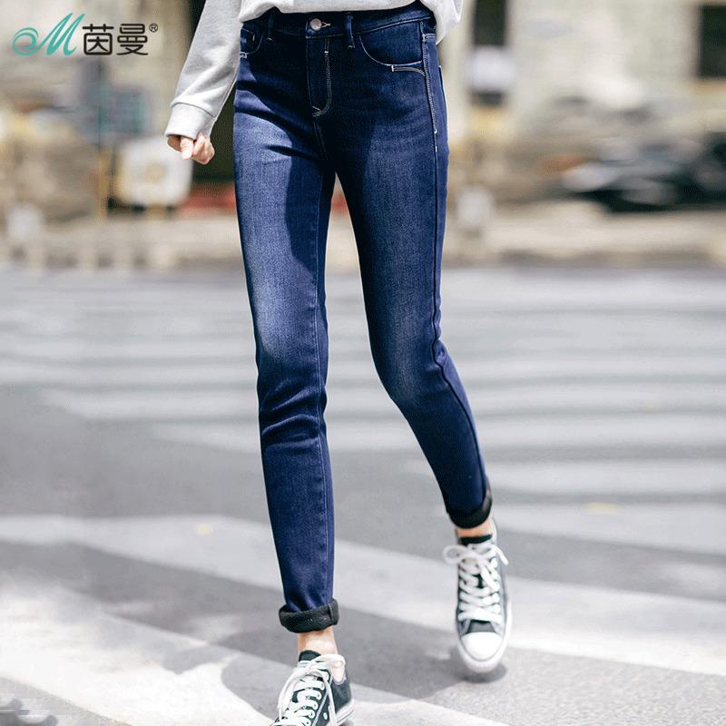 茵曼女装 茵曼2017冬新款加厚加绒保暖显瘦弹力牛仔裤女裤靴裤G1874331413_推荐淘宝好看的茵曼