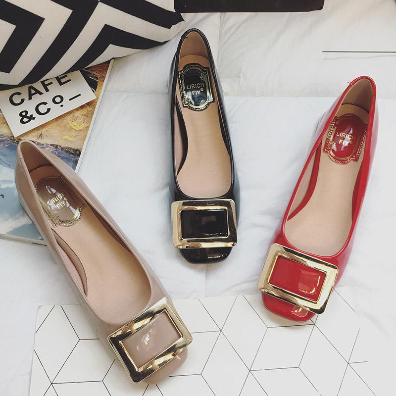 红色单鞋 2017韩版新款百搭粗跟低跟浅口方头漆皮大红色方扣平底鞋单鞋女鞋_推荐淘宝好看的红色单鞋
