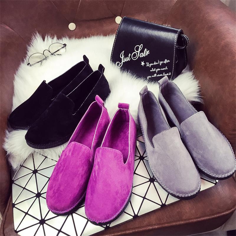 紫色豆豆鞋 春夏新款乐福鞋韩版紫色反绒皮单鞋女一脚蹬软底平底鞋豆豆鞋休闲_推荐淘宝好看的紫色豆豆鞋