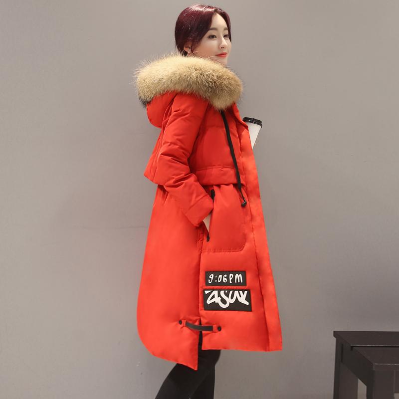 红色羽绒服 2016冬季新款韩版加厚大毛领品牌羽绒服女中长款修身韩国A字外套_推荐淘宝好看的红色羽绒服