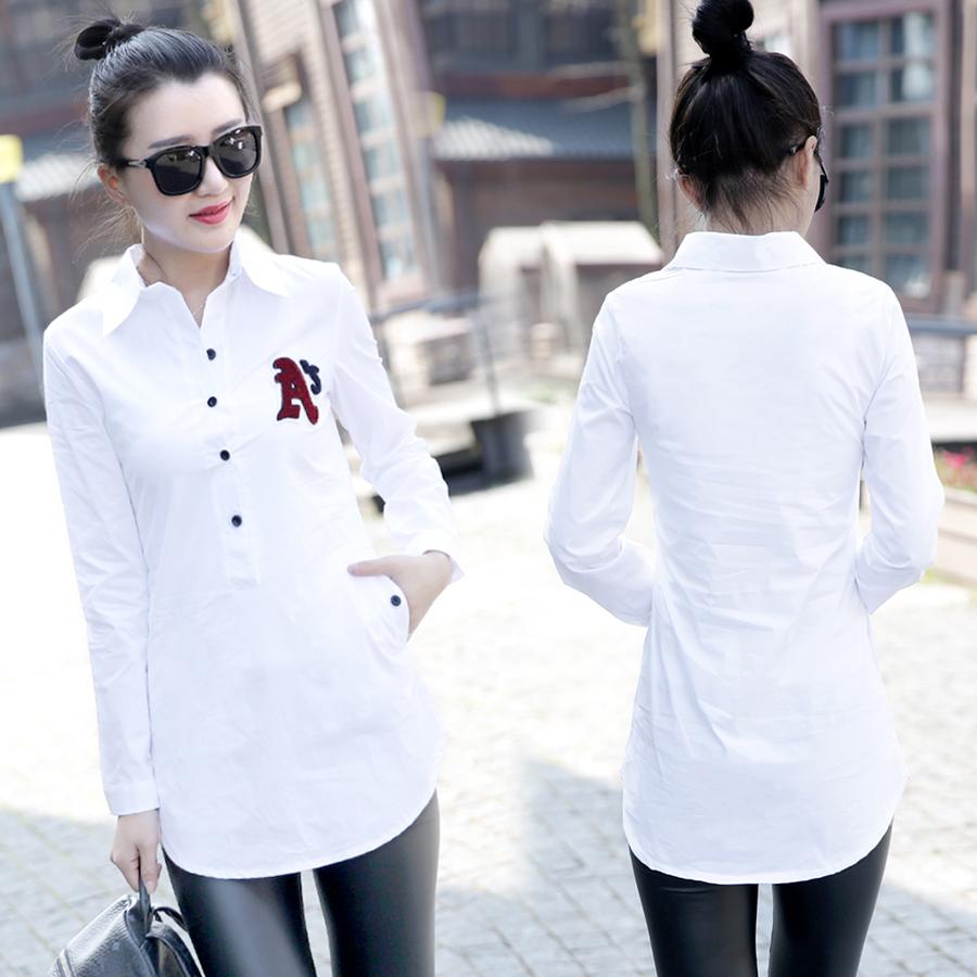 女士长款衬衫 白衬衫女长袖韩范百搭修身秋冬季韩版加绒加厚保暖纯棉中长款衬衣_推荐淘宝好看的女长款衬衫