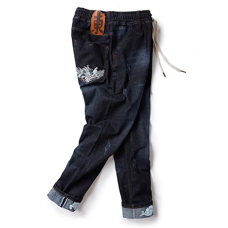 男士牛仔裤 胖胖星球大码男士秋季牛仔长裤子舒适大弹力加肥加大松紧高腰裤子_推荐淘宝好看的男牛仔裤
