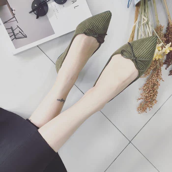 绿色平底鞋 韩版知性蝴蝶结尖头浅口单鞋绿色绒面平底鞋瓢鞋开车鞋粉色舞鞋女_推荐淘宝好看的绿色平底鞋