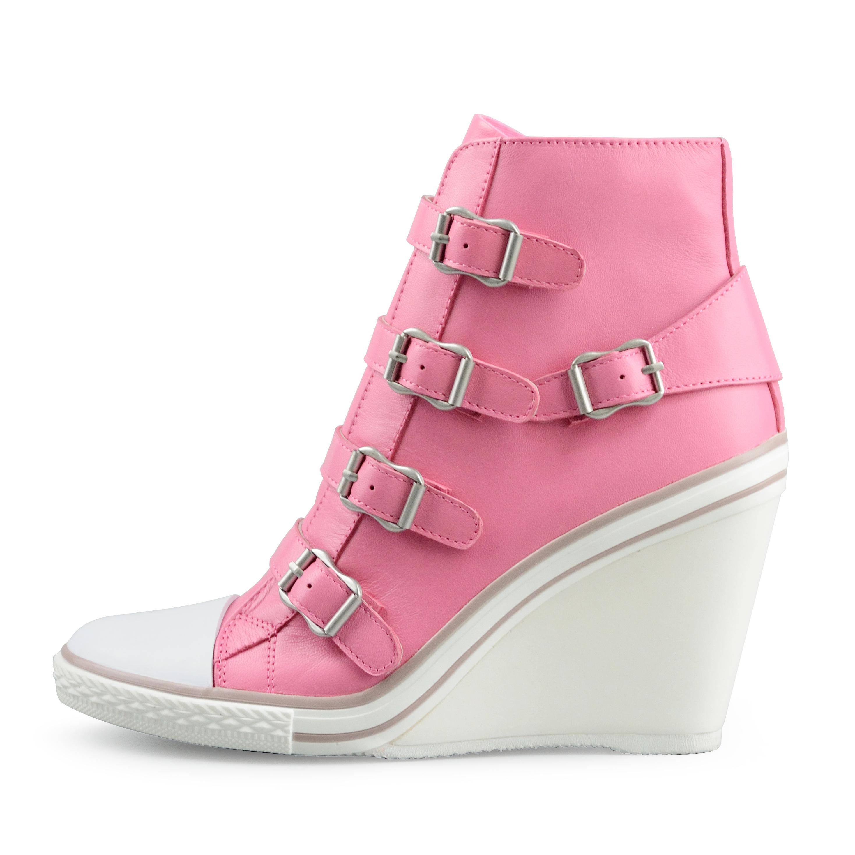 粉红色坡跟鞋 2017新款坡跟高帮明星同款女鞋糖果色真皮单鞋粉红色搭扣休闲潮鞋_推荐淘宝好看的粉红色坡跟鞋