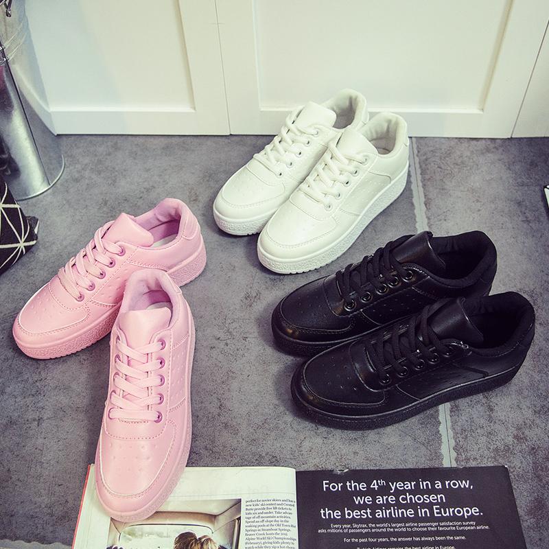 粉红色运动鞋 秋天休闲运动板鞋女纯白色原白大白小白粉红色黑色少女可爱中学生_推荐淘宝好看的粉红色运动鞋