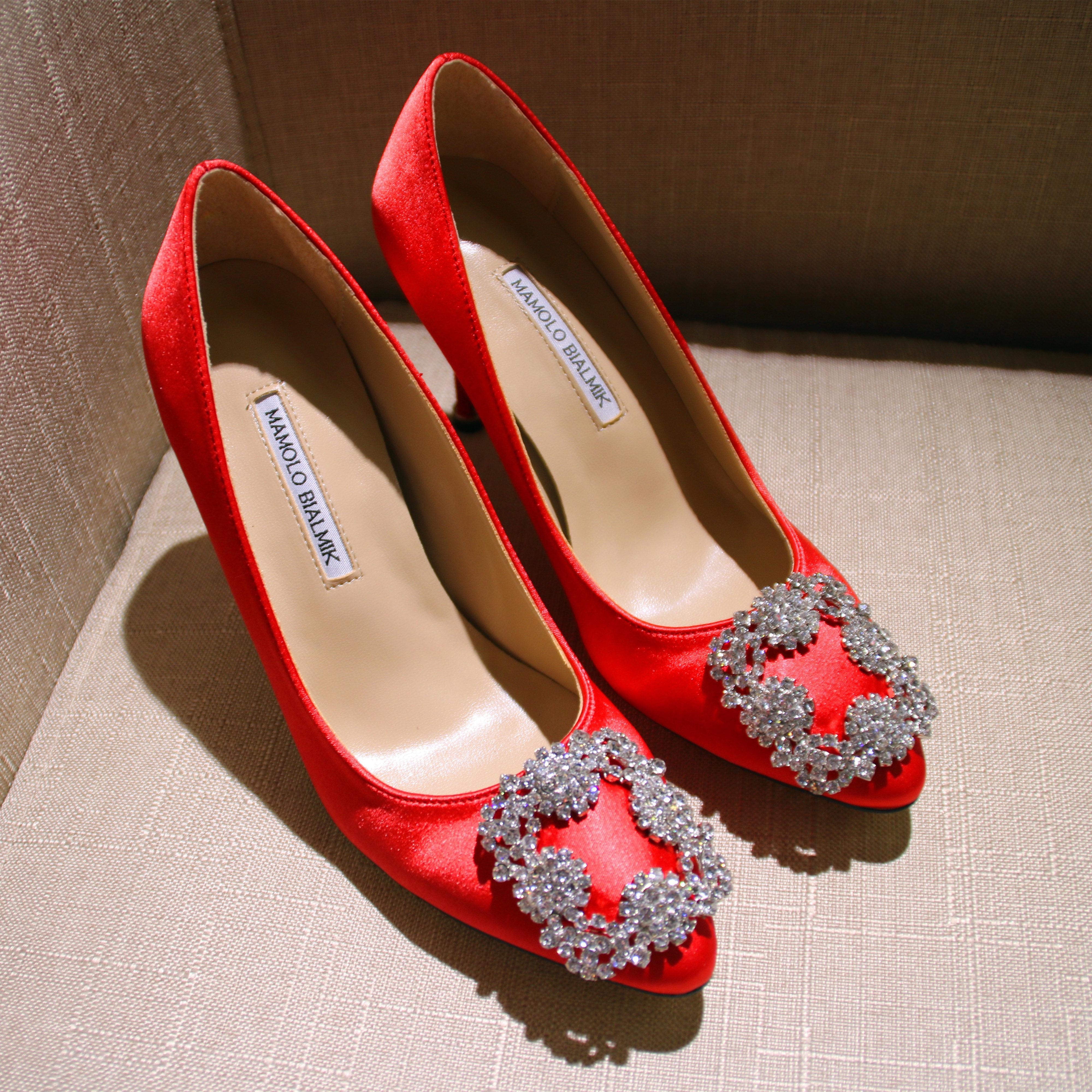 水钻高跟鞋 尖头水钻方扣高跟鞋细跟浅口绸缎单鞋真皮女鞋伴娘鞋新娘红色婚鞋_推荐淘宝好看的女水钻高跟鞋