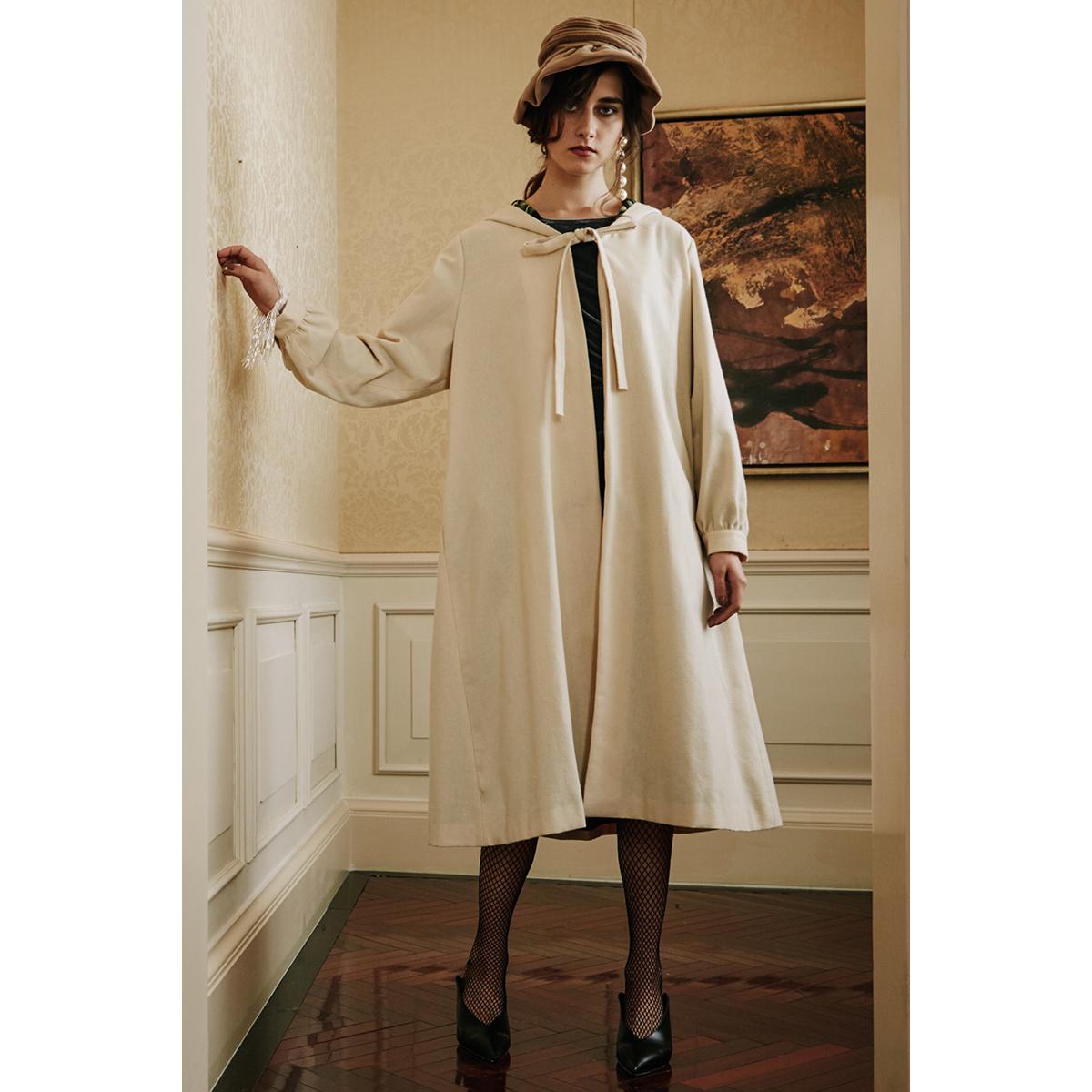 白色风衣 RIMLESS无边 2016新款薄呢料法兰绒斗篷中长款宽松休闲风衣外套女_推荐淘宝好看的白色风衣