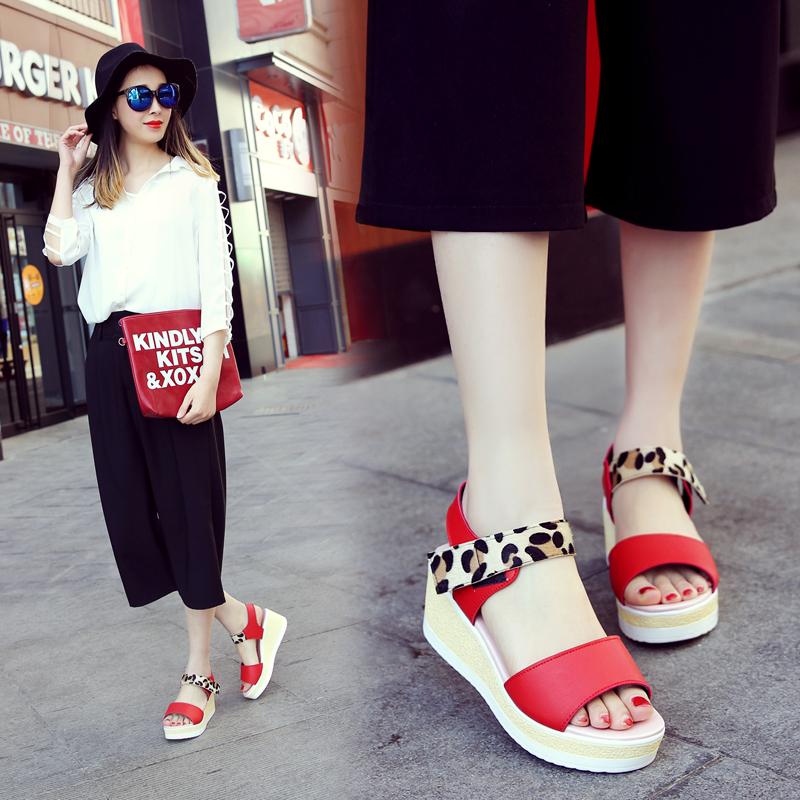 韩版豹纹坡跟鞋 2017新款坡跟女凉鞋韩版学生防水台豹纹时尚潮甜美松糕跟厚底女鞋_推荐淘宝好看的女韩版豹纹坡跟鞋