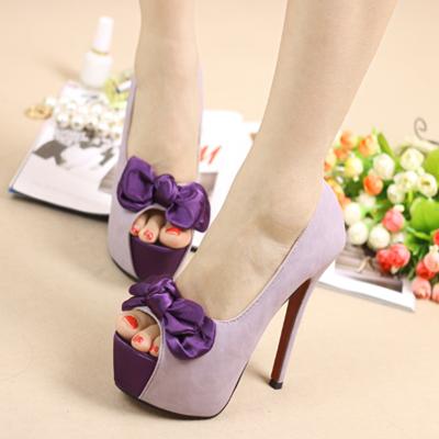 紫色鱼嘴鞋 鱼嘴高跟鞋 紫色蝴蝶结防水台浅口单鞋夜店性感女鞋 细跟超高跟鞋_推荐淘宝好看的紫色鱼嘴鞋