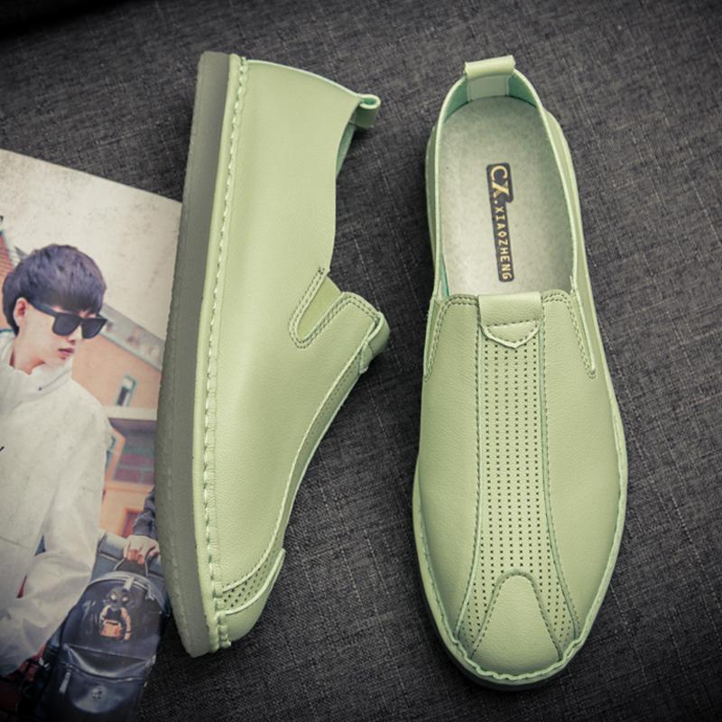 绿色豆豆鞋 夏季青年男士懒人鞋青春潮流男鞋学生青少年休闲皮鞋绿色豆豆鞋男_推荐淘宝好看的绿色豆豆鞋
